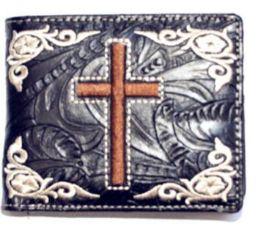 12 Units of Embroideried Cross Black Bi Fold Wallet - Wallets & Handbags