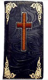 12 Units of Embroideried Cross Black Long Unisex Wallet - Wallets & Handbags
