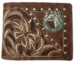 12 Units of Embroideried Hose Head Bi Fold Wallet Brown - Wallets & Handbags