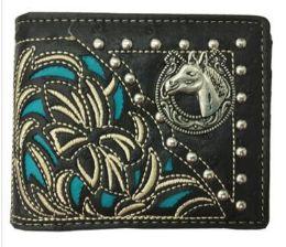 12 Units of Bi Fold Embroideried Hose Head Wallet Black - Wallets & Handbags