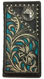 12 Units of Embroideried Hose Head Long Western Wallet Black - Wallets & Handbags