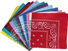 60 Units of Assorted Cotton Bandana Mixed Prints, Mixed Colors Bulk Paisley Bandannas - PPE Mask