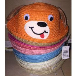 72 Units of Children's Straw Hats Dog Design - Kids Baseball Caps