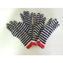 48 Units of Women's Fleece Striped Winter Gloves - Fleece Gloves