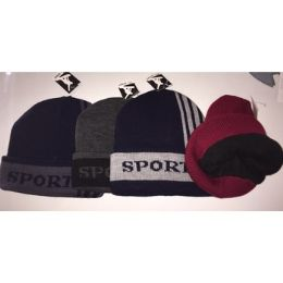 72 Units of SPORT FLEECE LINED UNISEX WINTER HATS - Winter Beanie Hats