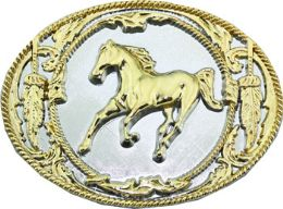 12 Units of Golden Horse Belt Buckle - Belt Buckles