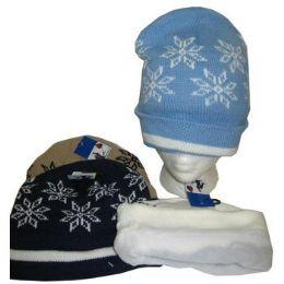 96 Units of Fleece Lined Snowflake Winter Hat - Winter Hats