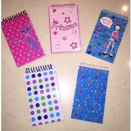 200 Units of SPIRAL NOTEPADS - ASSORTED PRINTS - Memo Holders and Magnets