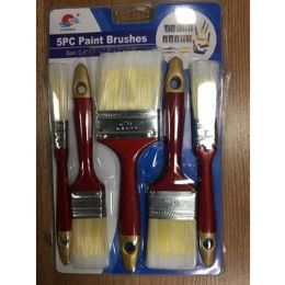 48 Units of 5 Piece Wooden Paint Brush Set - Paint and Supplies