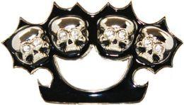 24 Units of Skull Brass Knuckle Belt Buckle - Belt Buckles
