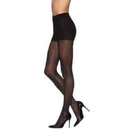 36 Units of Ultra Sheer Queen Size Pantyhose In Jet Black - Womens Thigh High Stocking