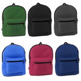 """36 Units of 15 And Half Inche Backpacks In 6 Solid Colors - Backpacks 15"""" or Less"""