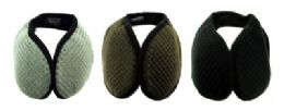 48 Units of Earmuffs with a band that goes behind the head with a diamond shaped design print in assorted colors - Ear Warmers