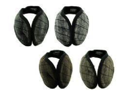 48 Units of Earmuffs with a band that goes behind the head with a small plaid print in assorted colors - Ear Warmers