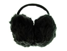24 Units of Black furry earmuffs with band that goes behind the head - Ear Warmers