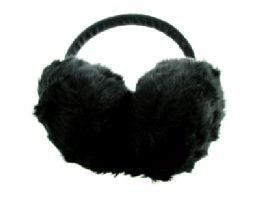 24 Units of Black furry earmuffs with band that goes over the head - Ear Warmers
