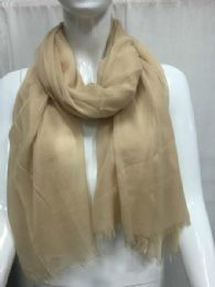 36 Units of Ladies Summer Fashion Scarf Beige Solid Color - Womens Fashion Scarves
