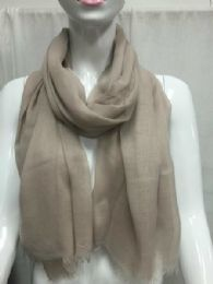 36 Units of Ladies Summer Fashion Scarf Light Beige Solid Color - Womens Fashion Scarves