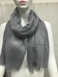36 Units of Ladies Summer Fashion Scarf Grey Solid Color - Womens Fashion Scarves