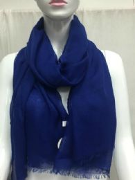 36 Units of Ladies Summer Fashion Scarf Navy Solid Color - Womens Fashion Scarves