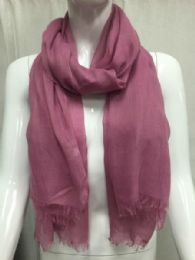 36 Units of Ladies Summer Fashion Scarf Pink Solid Color - Womens Fashion Scarves