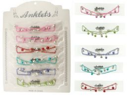 72 Units of Assorted color chain with matching bead and silver-tone heart dangles - Ankle Bracelets