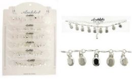 72 Units of Silver-tone chain with faceted oval charms - Ankle Bracelets