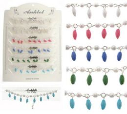72 Units of Silver-tone chain anklet with faux pearl beads and faceted tube dangles - Ankle Bracelets