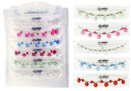 72 Units of FACETED SILVERTONE CHAIN ANKLET WITH ASSORTED COLORED BEADS - Ankle Bracelets