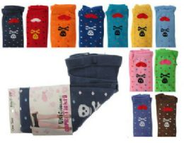 48 Units of Assorted colored capri tights with skull and heart designs - Womens Tights