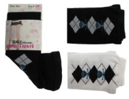 48 Units of Black and White capri tights with blue skull and argyle designs. - Womens Tights