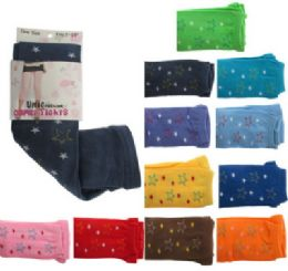 48 Units of Assorted colored capri tights with star designs. - Womens Tights