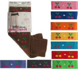 48 Units of Assorted colored capri tights with cherry designs. - Womens Tights