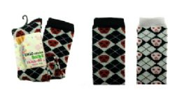 48 Units of Black And White Thigh High Socks With Argyle Print - Womens Knee Highs