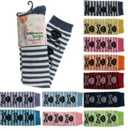 48 Units of Assorted Colored Thigh High Socks With Stripes And Skulls Designs - Womens Knee Highs