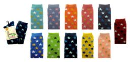 48 Units of Assorted Colored Thigh High Socks With Small Star Designs Throughout. - Womens Knee Highs