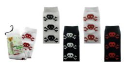 48 Units of Black And White Thigh High Socks With Red, White, Or Black Skull And Cross Bone Designs - Womens Knee Highs