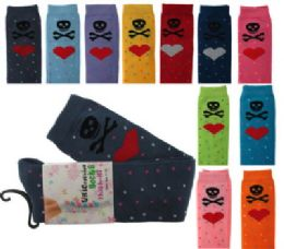 48 Units of Assorted Colored Thigh High Socks With Skulls And Heart Designs - Womens Knee Highs