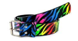 48 Units of Rainbow Zebra Print Belt - Kid Belts