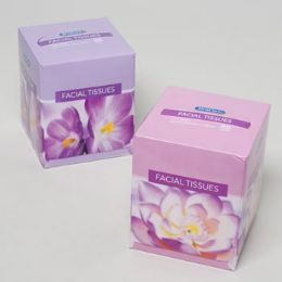 12 Units of Facial Tissue 86ct Cube 2 Ply Floral Design - Tissues