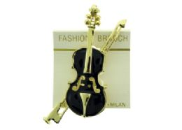 36 Units of Large Violin Brooch Pin - Jewelry & Accessories