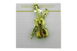 36 Units of Violin Brooch Pin - Jewelry & Accessories
