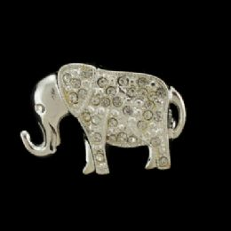 36 Units of Silver Tone Elephant With Rhinestone Accents Pin - Jewelry & Accessories