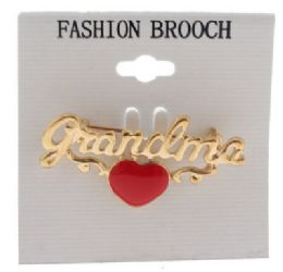 36 Units of Gold Tone Grandma With Heart Brooch Pins - Jewelry & Accessories