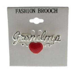 36 Units of Silver Tone Grandma With Heart Brooch Pins - Jewelry & Accessories