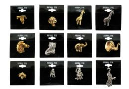 36 Units of Assorted Styles Gold Tone And Silver Tone Animal Tac Pins - Jewelry & Accessories
