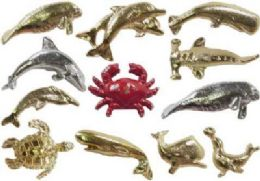36 Units of Assorted Styles Gold Tone And Silver Tone Sea Life Tac Pins - Jewelry & Accessories