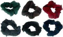 72 Units of Assorted color ribbed sateen scrunchies with beads - Hair Scrunchies