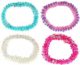 72 Units of Assorted color beaded scrunchies - Hair Scrunchies