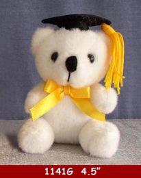 "36 Units of 4.5"" White Graduation Bear - Plush Toys"